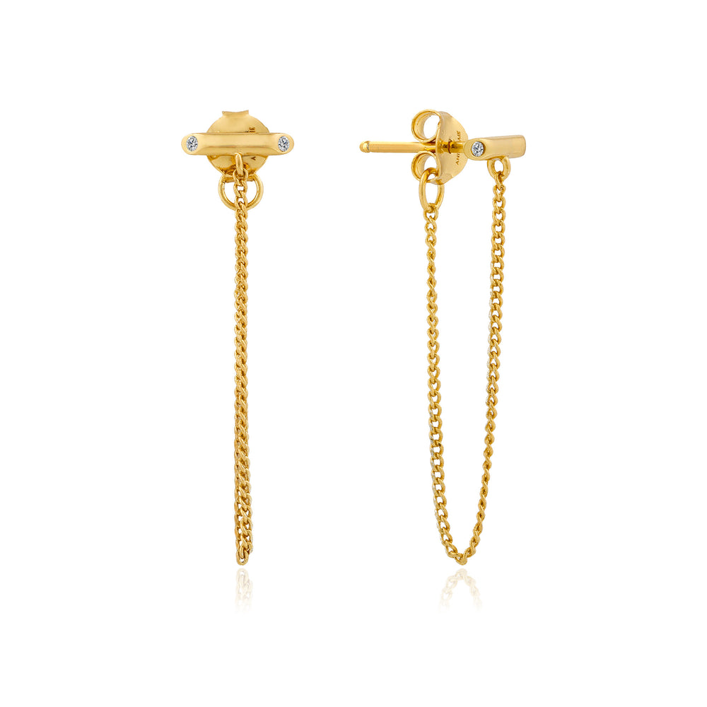 Gold Shimmer Chain Stud Earrings