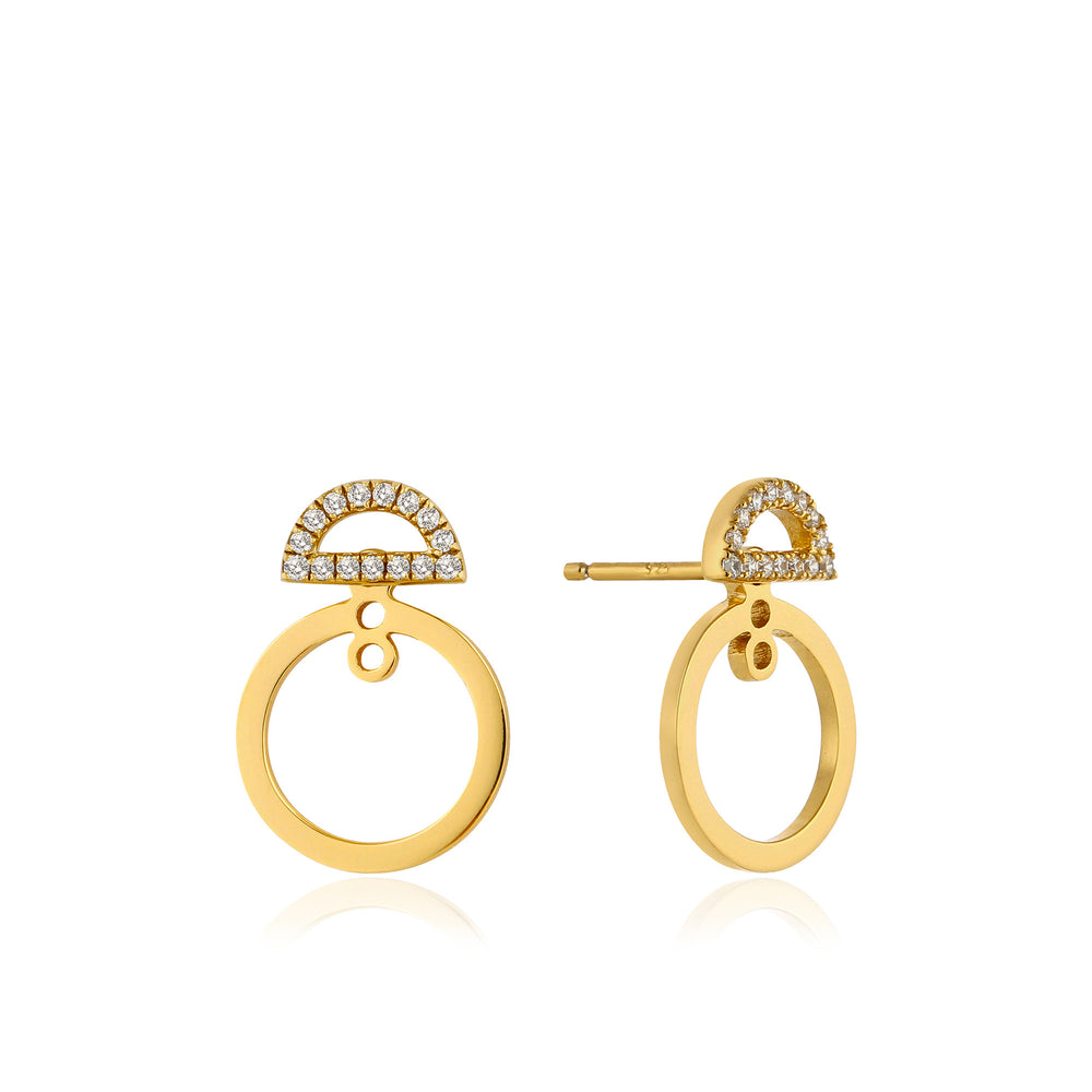 Gold Shimmer Pavé Hoop Ear Jackets