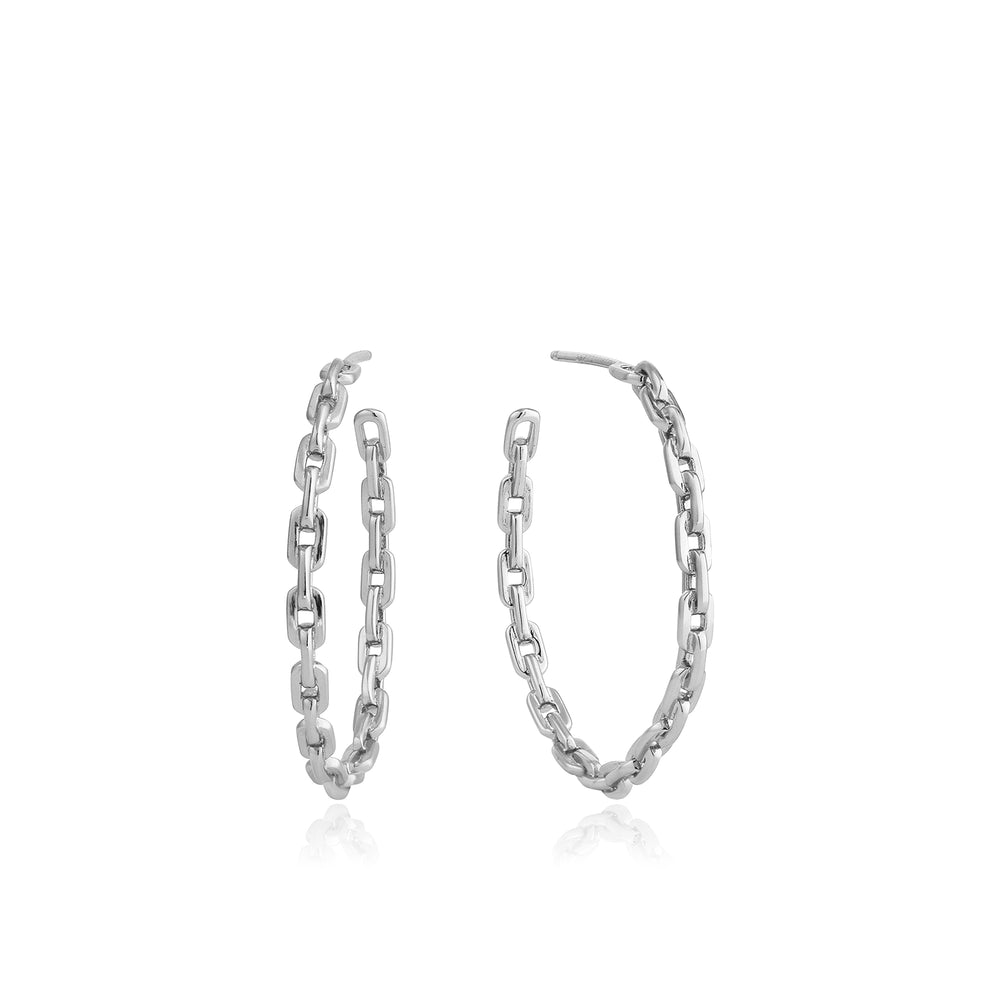 Silver Chain Hoop Earrings