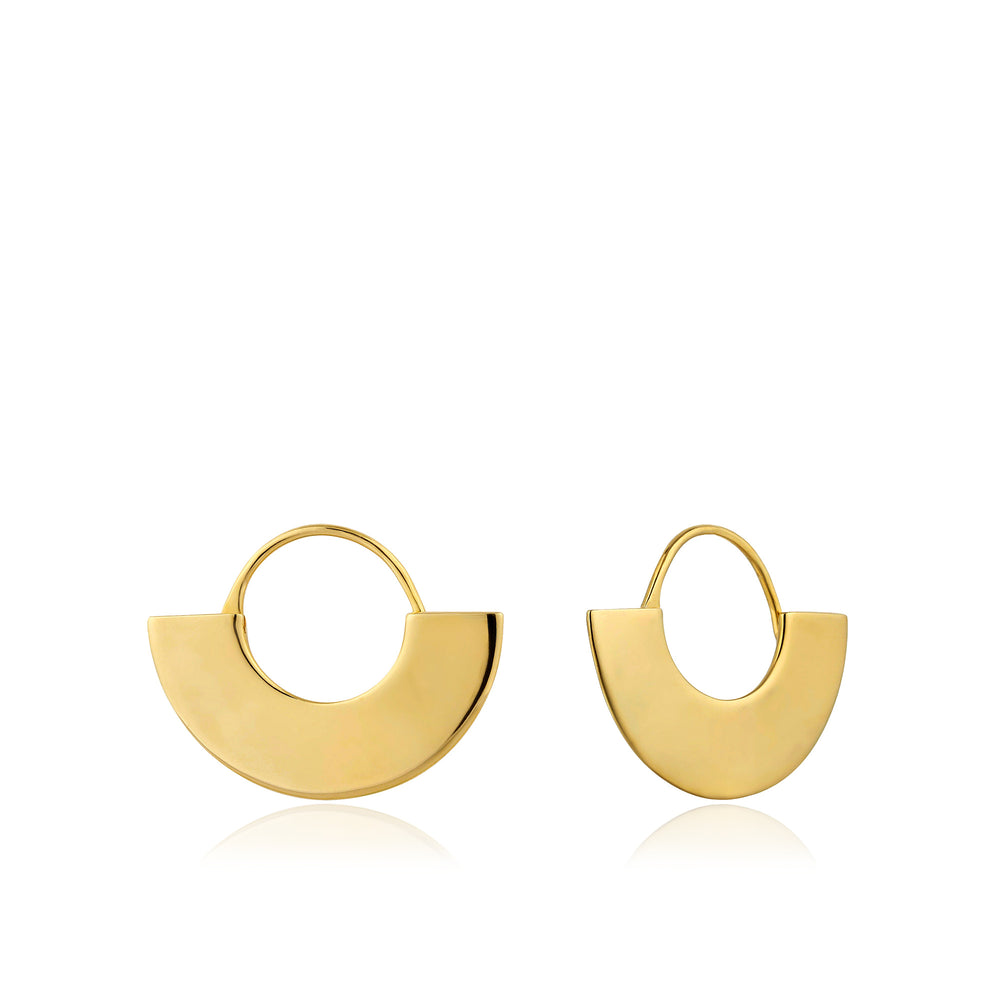 Gold Geometry Fan Hoop Earrings