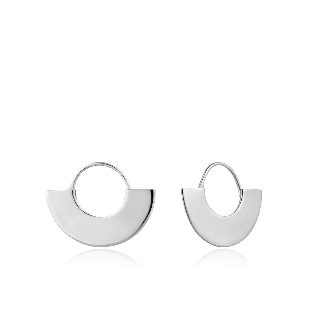 Silver Geometry Fan Hoop Earrings