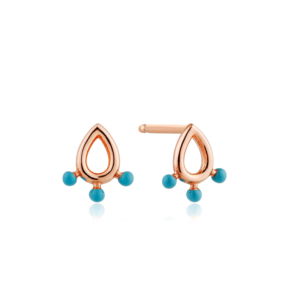 Load image into Gallery viewer, Rose Gold Dotted Raindrop Stud Earrings