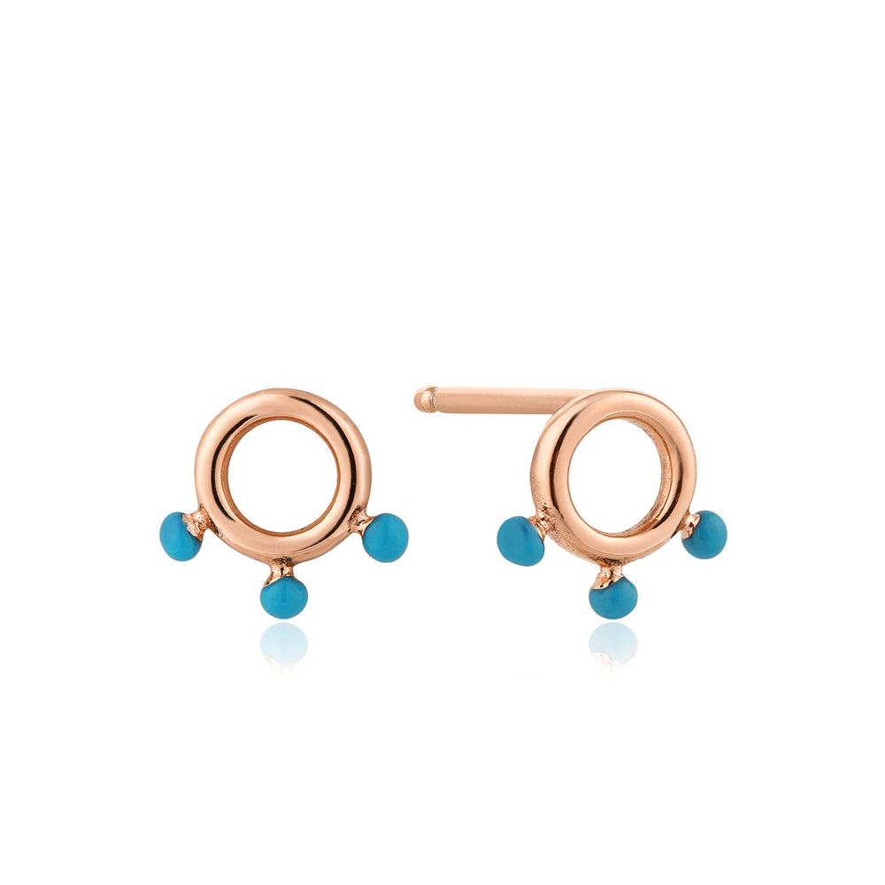 Rose Gold Dotted Circle Stud Earrings
