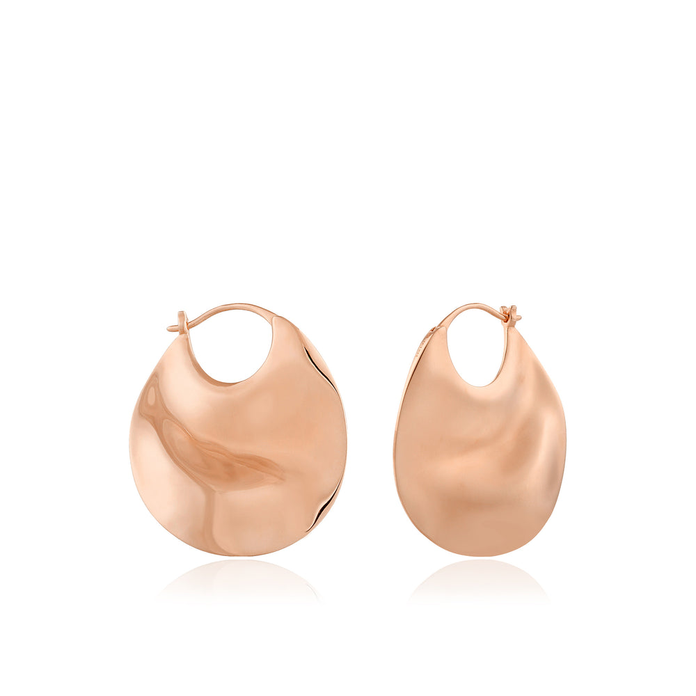 Rose Gold Ripple Thick Hoop Earrings