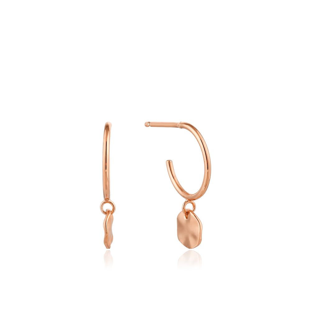 Rose Gold Ripple Small Hoop Earrings