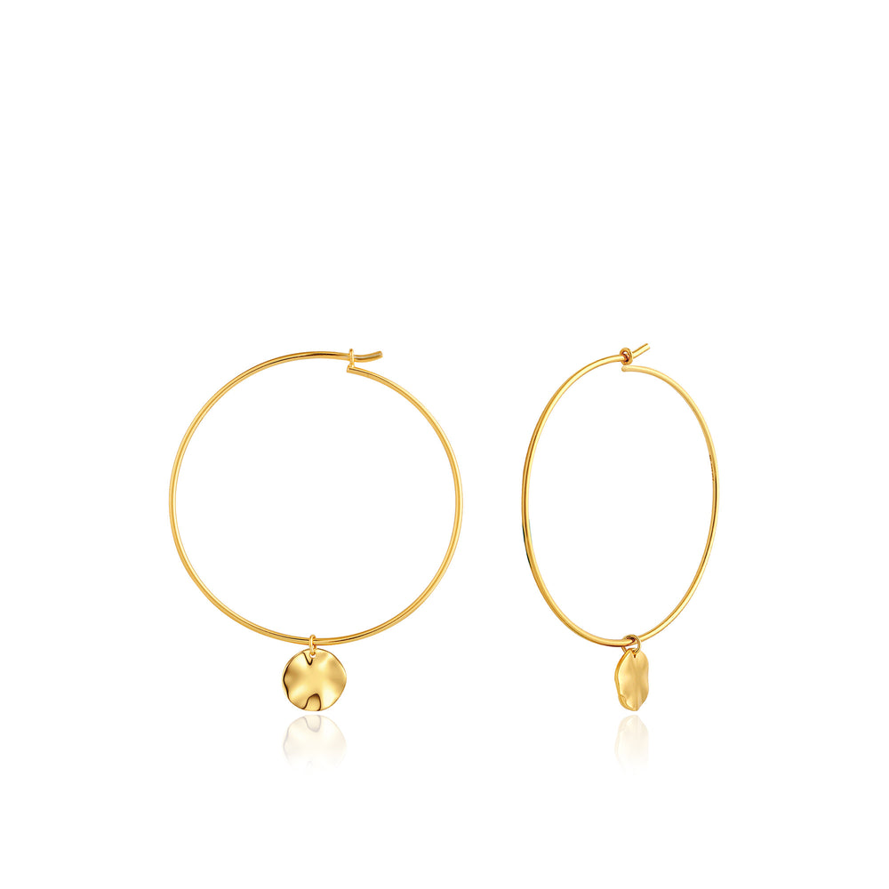 Gold Ripple Hoop Earrings
