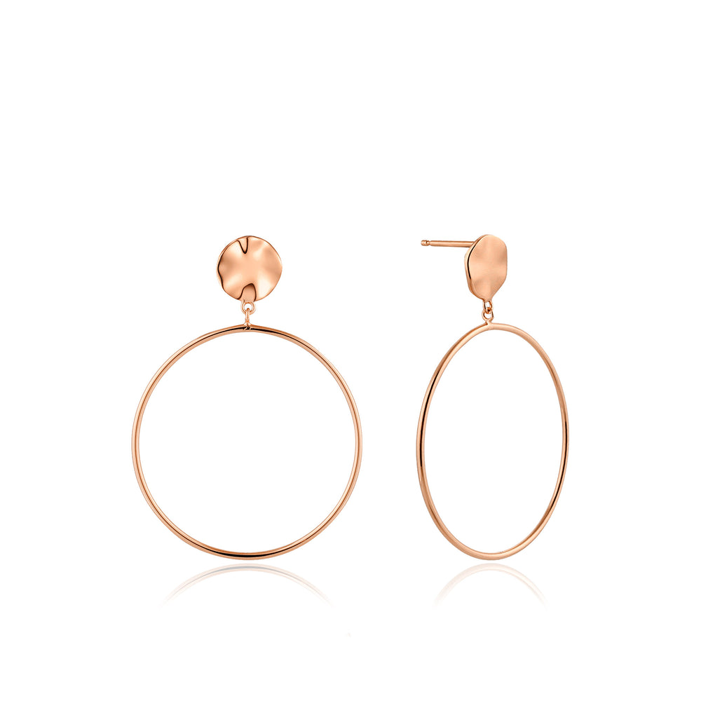 Load image into Gallery viewer, Rose Gold Ripple Front Hoop Earrings