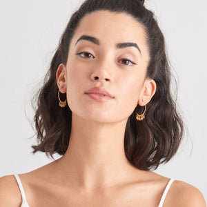 Gold Multi-Drop Hoop Earrings