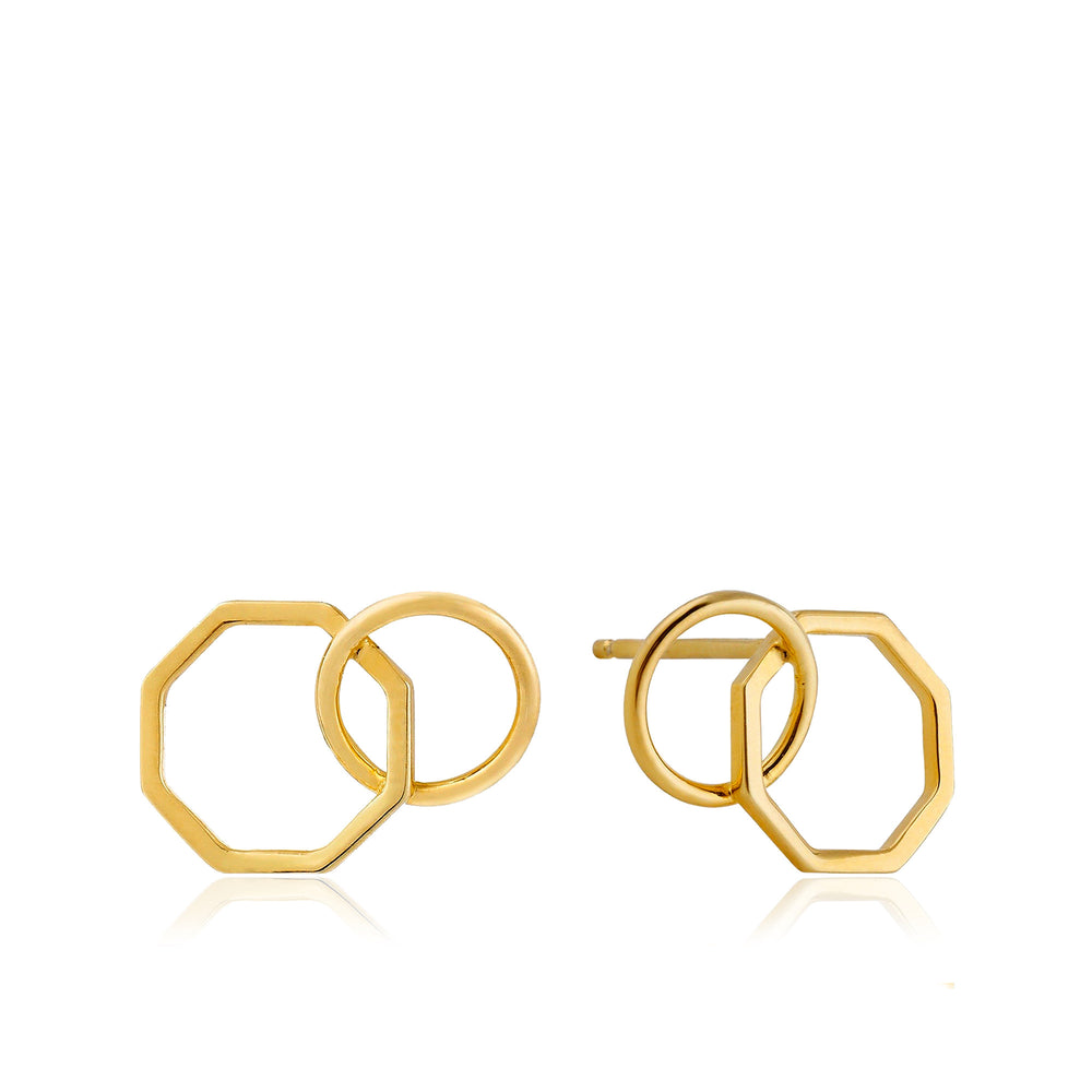Gold Two Shape Stud Earrings