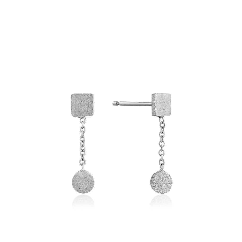 Silver Two Shape Drop Earrings