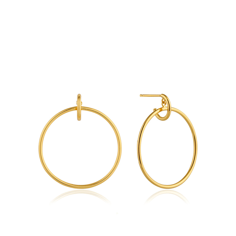 Load image into Gallery viewer, Gold Front Hoop Earrings