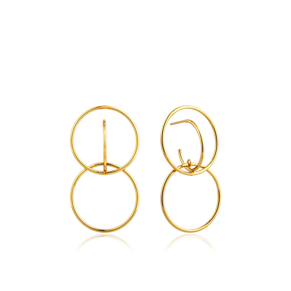 Gold Double Circle Front Earrings