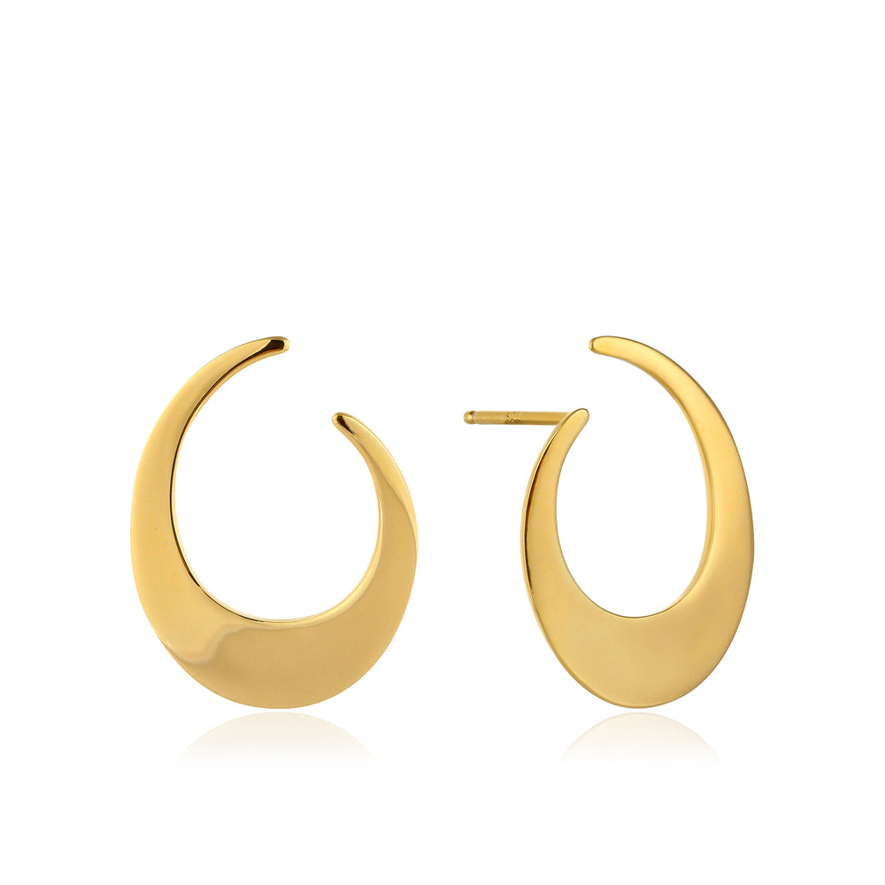 Gold Oval Twist Earrings