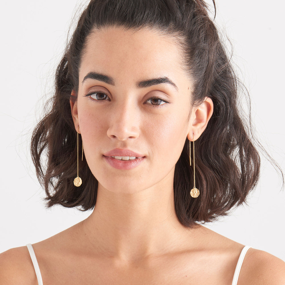 Gold Roman Empress Threader Earrings