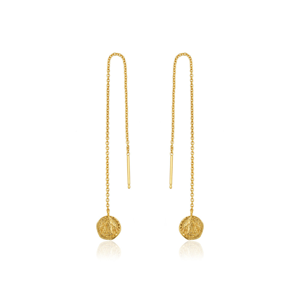 Load image into Gallery viewer, Gold Deus Threader Earrings