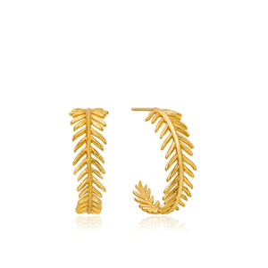 Load image into Gallery viewer, Gold Palm Hoop Earrings