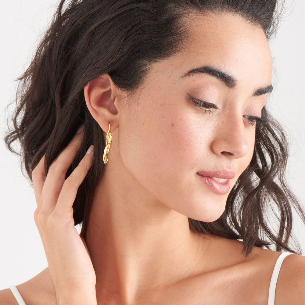 Gold Helix Hook Earrings