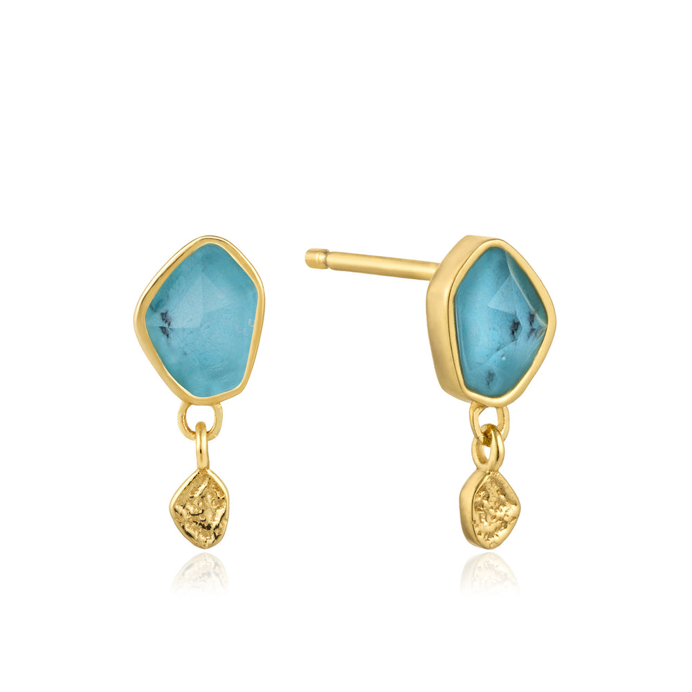Turquoise Drop Gold Stud Earrings