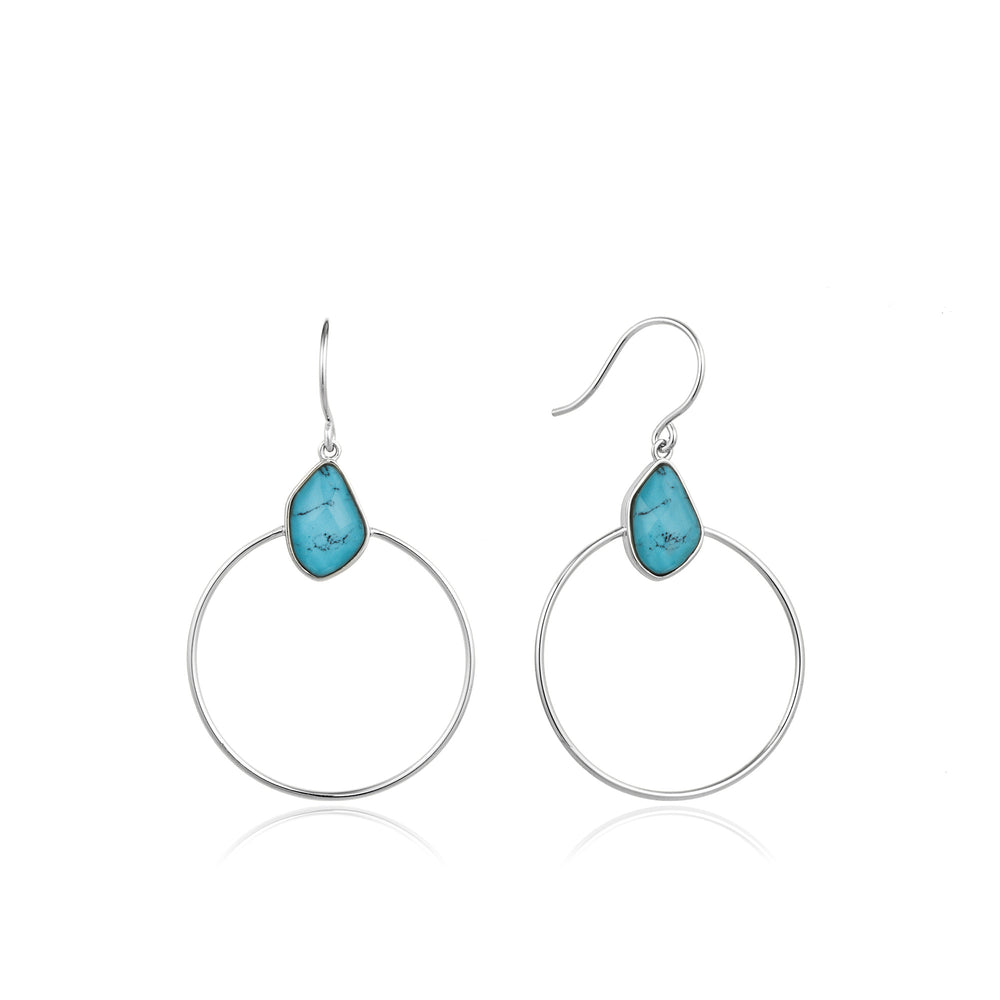 Turquoise Front Hoop Silver Earrings