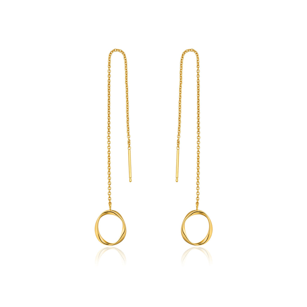 Gold Swirl Threader Earrings