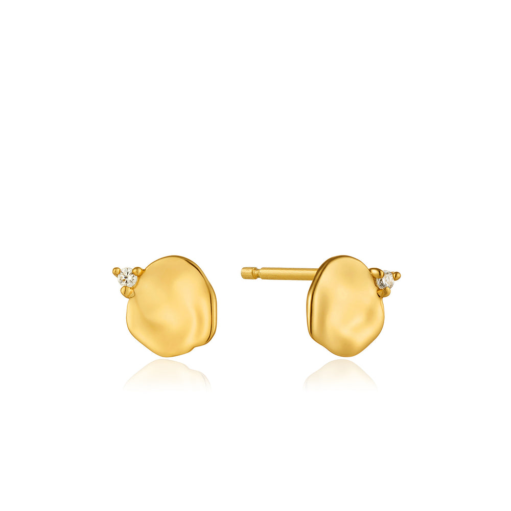 Load image into Gallery viewer, Gold Crush Disc Stud Earrings