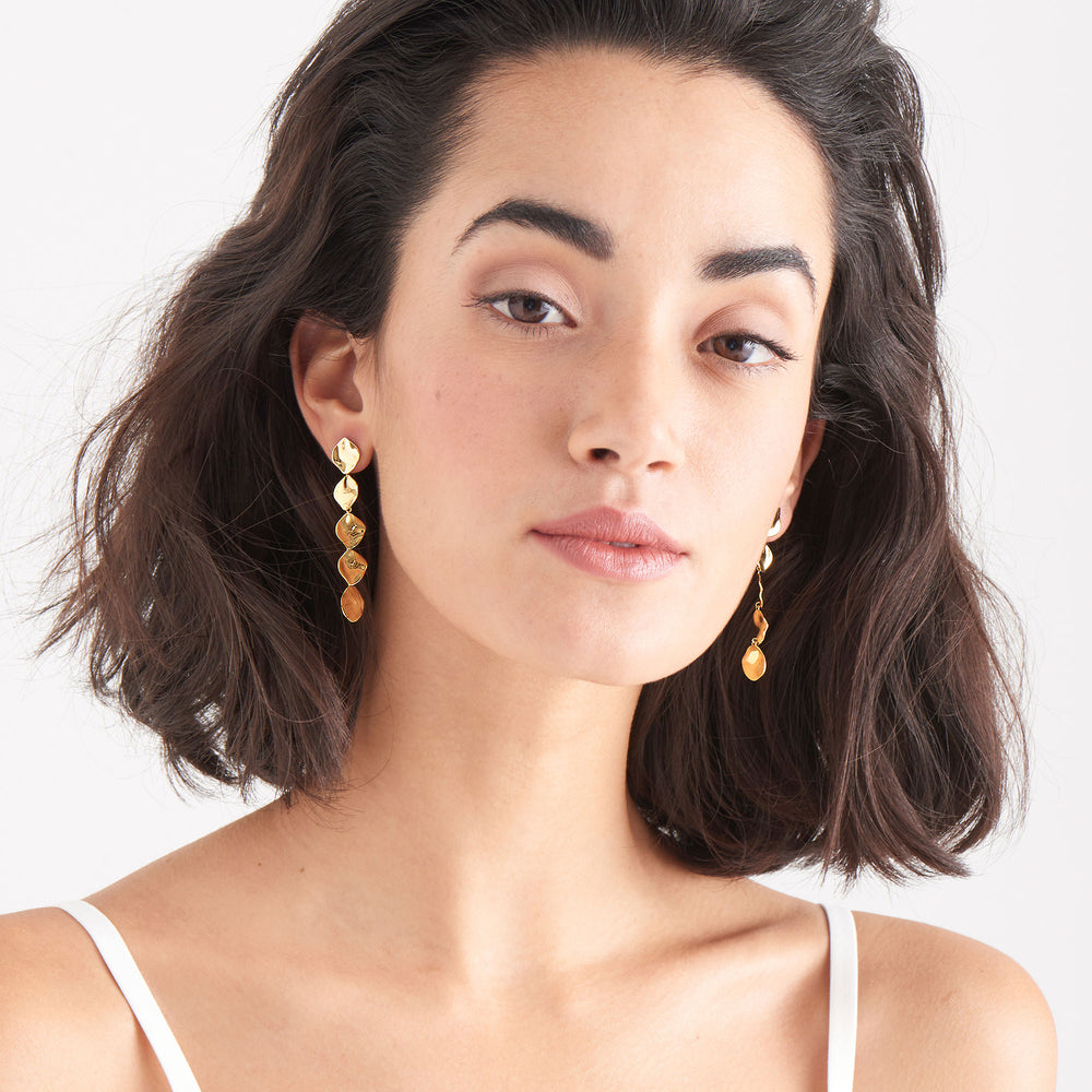 Gold Crush Multiple Discs Drop Earrings