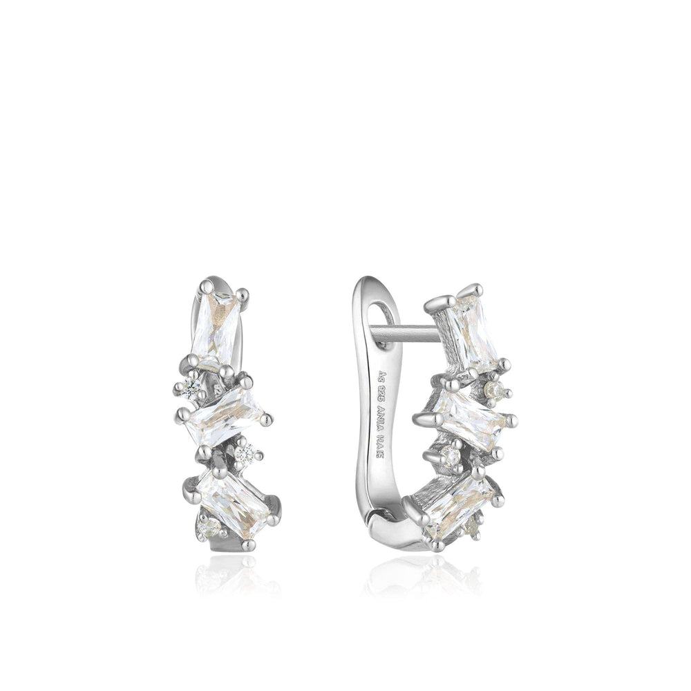 Silver Cluster Huggie Earrings
