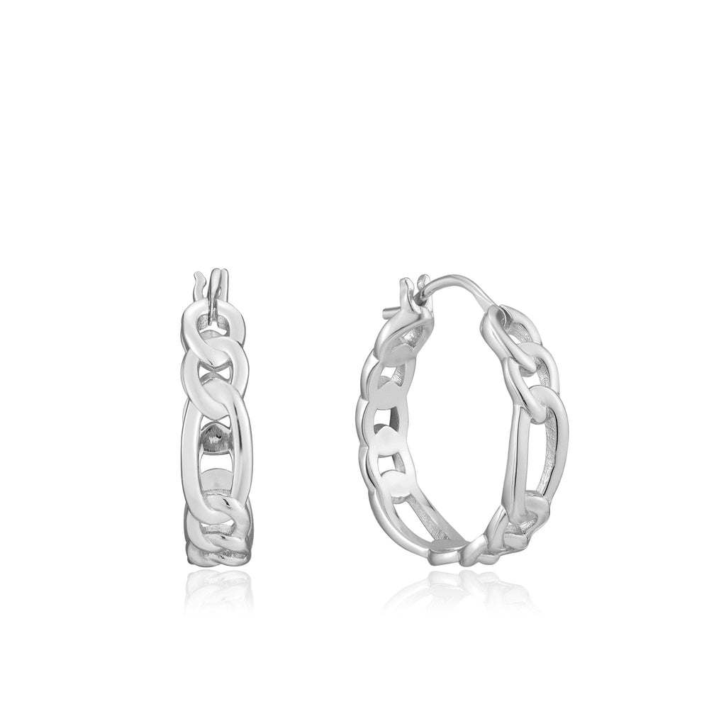 Load image into Gallery viewer, Silver Figaro Chain Hoop Earrings
