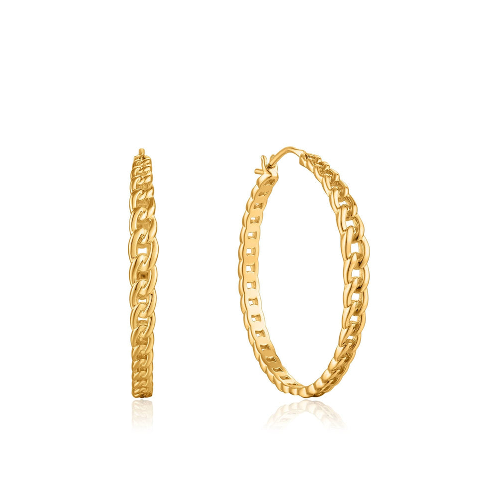 Gold Curb Chain Hoop Earrings