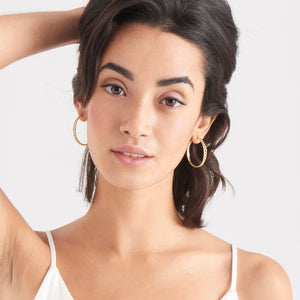 Load image into Gallery viewer, Gold Curb Chain Hoop Earrings