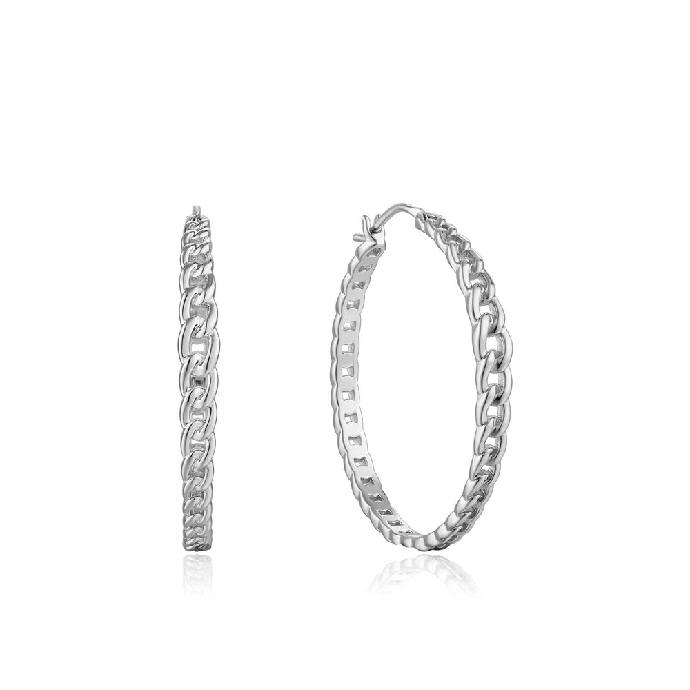 Silver Curb Chain Hoop Earrings