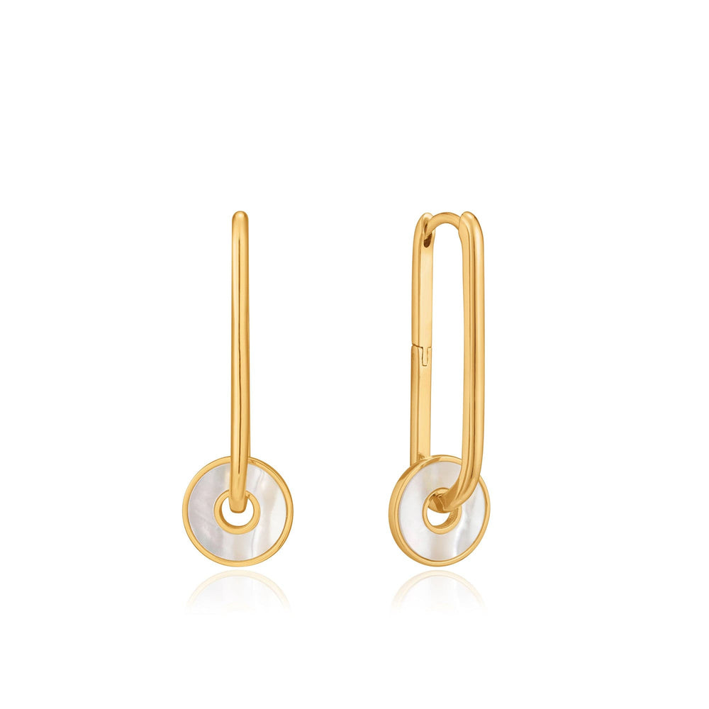 Gold Mother Of Pearl Disc Hoop Earrings
