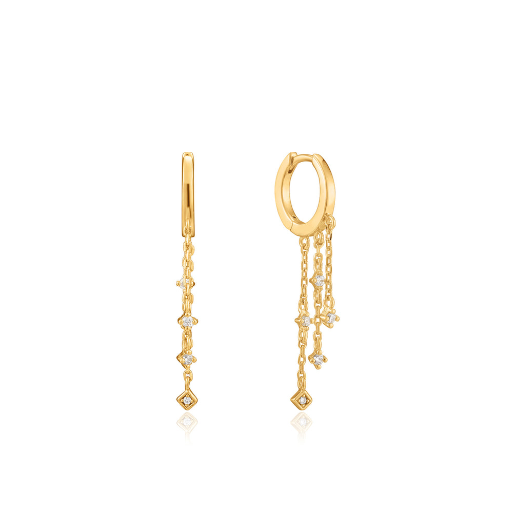 Load image into Gallery viewer, Gold Sparkle Cascade Huggie Hoops