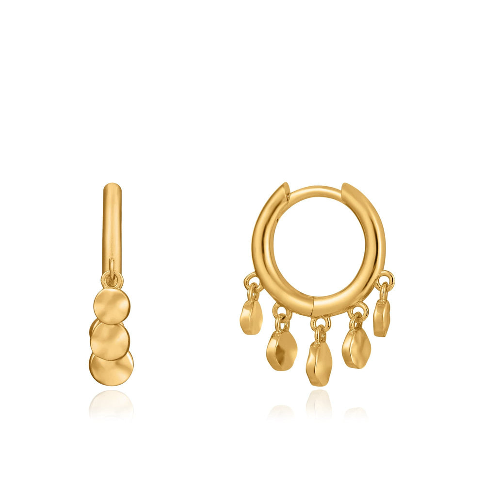 Gold Mini Disc Huggie Hoops