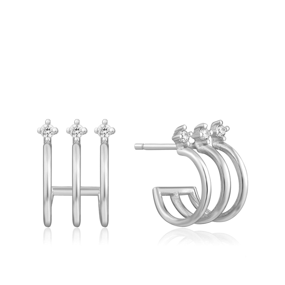 Silver Triple Mini Hoop Stud Earrings