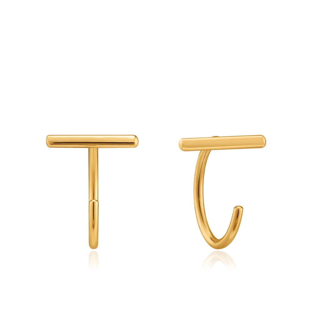 Gold T-Bar Twist Earrings