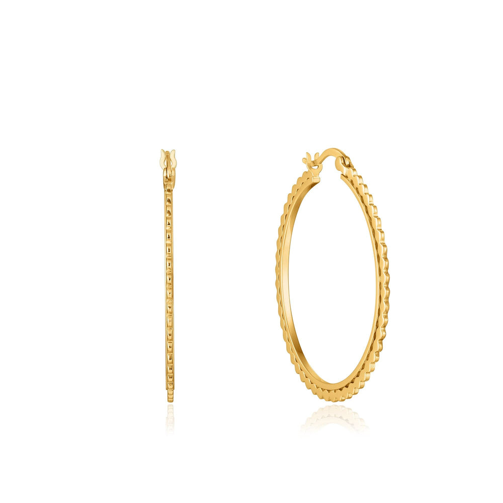 Load image into Gallery viewer, Gold Flat Beaded Hoop Earrings