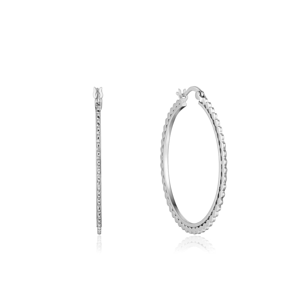 Silver Flat Beaded Hoop Earrings