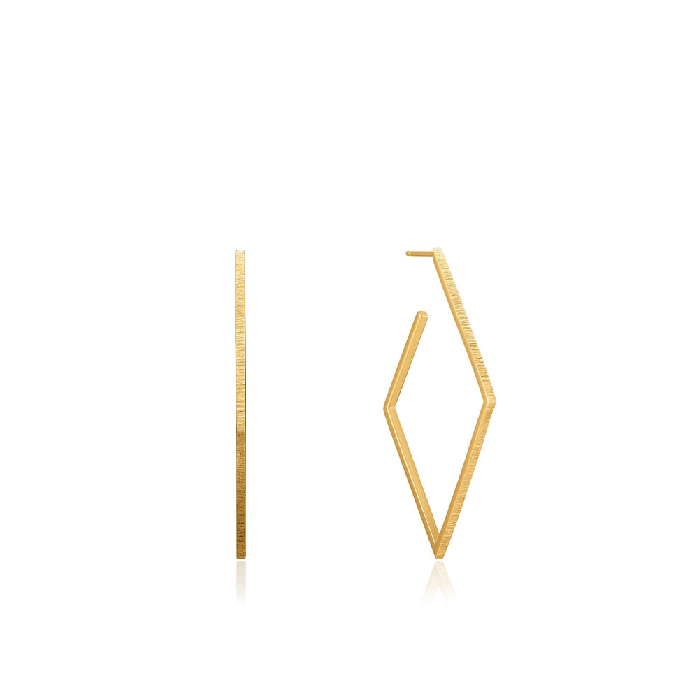Gold Textured Diamond Hoop Earrings