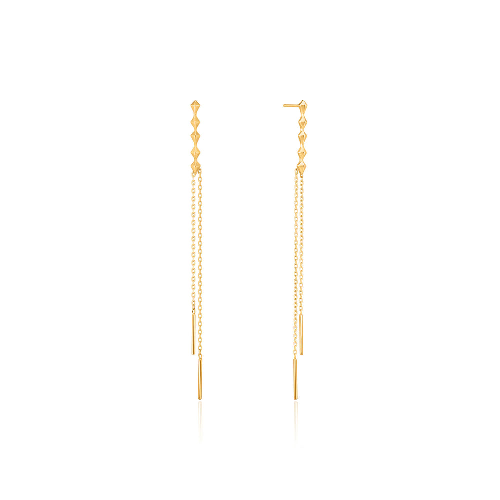 Gold Spike Double Drop Earrings