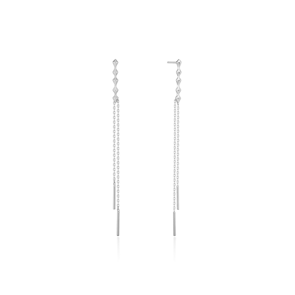 Silver Spike Double Drop Earrings