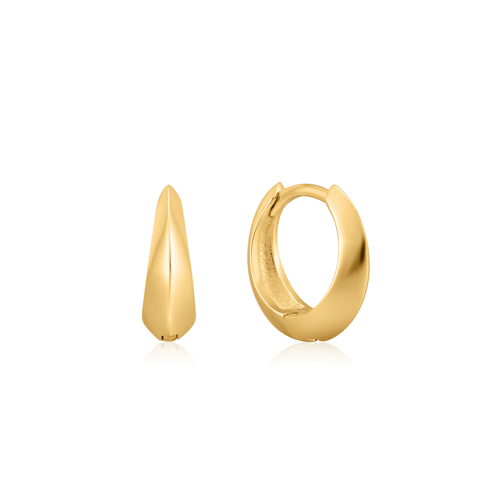 Gold Single Spike Huggie Hoop Earrings
