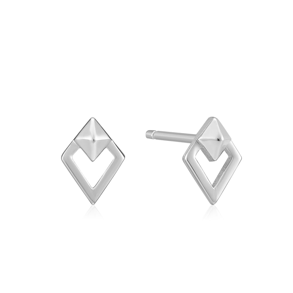 Silver Spike Diamond Stud Earrings