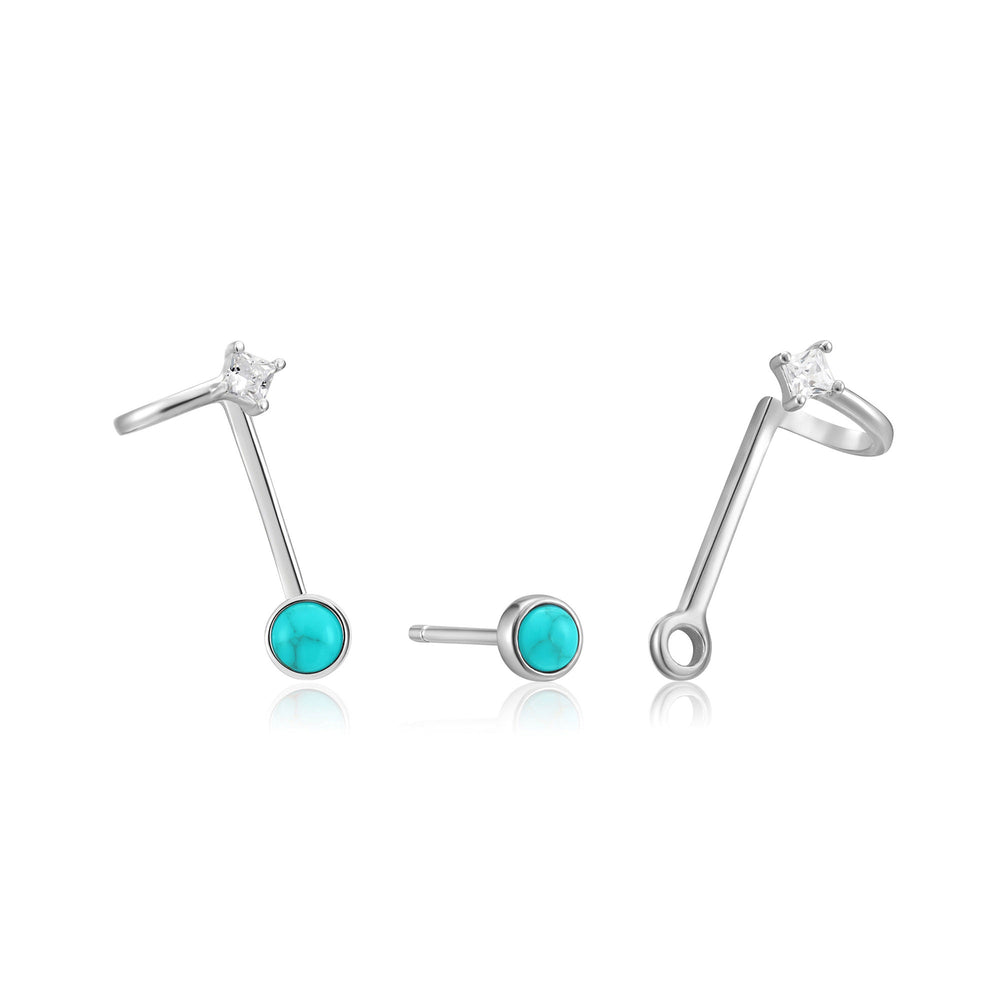 Silver Tidal Turquoise Double Stud Earrings