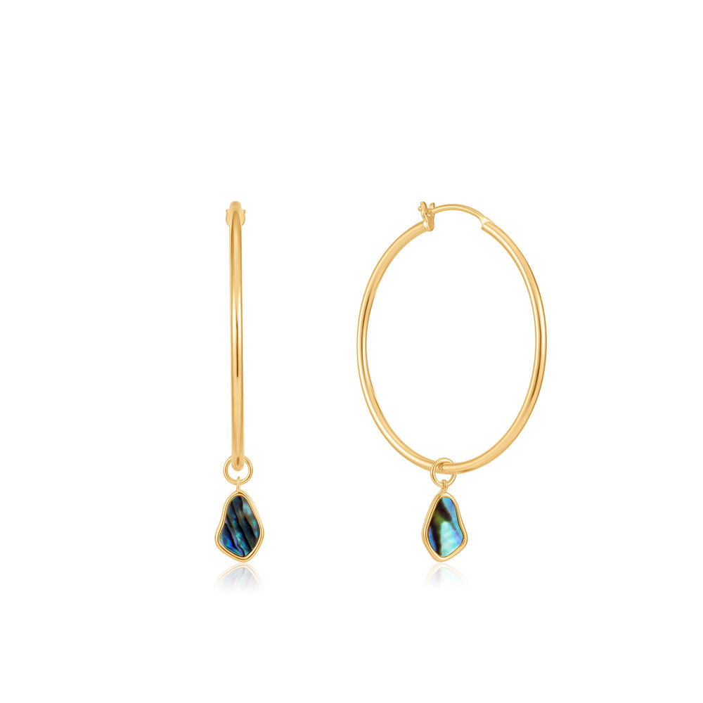 Gold Tidal Abalone Drop Hoop Earrings