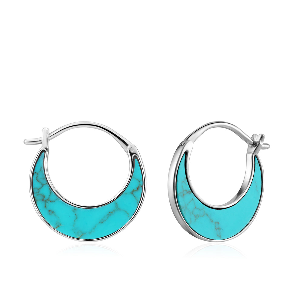 Silver Tidal Turquoise Crescent Earrings