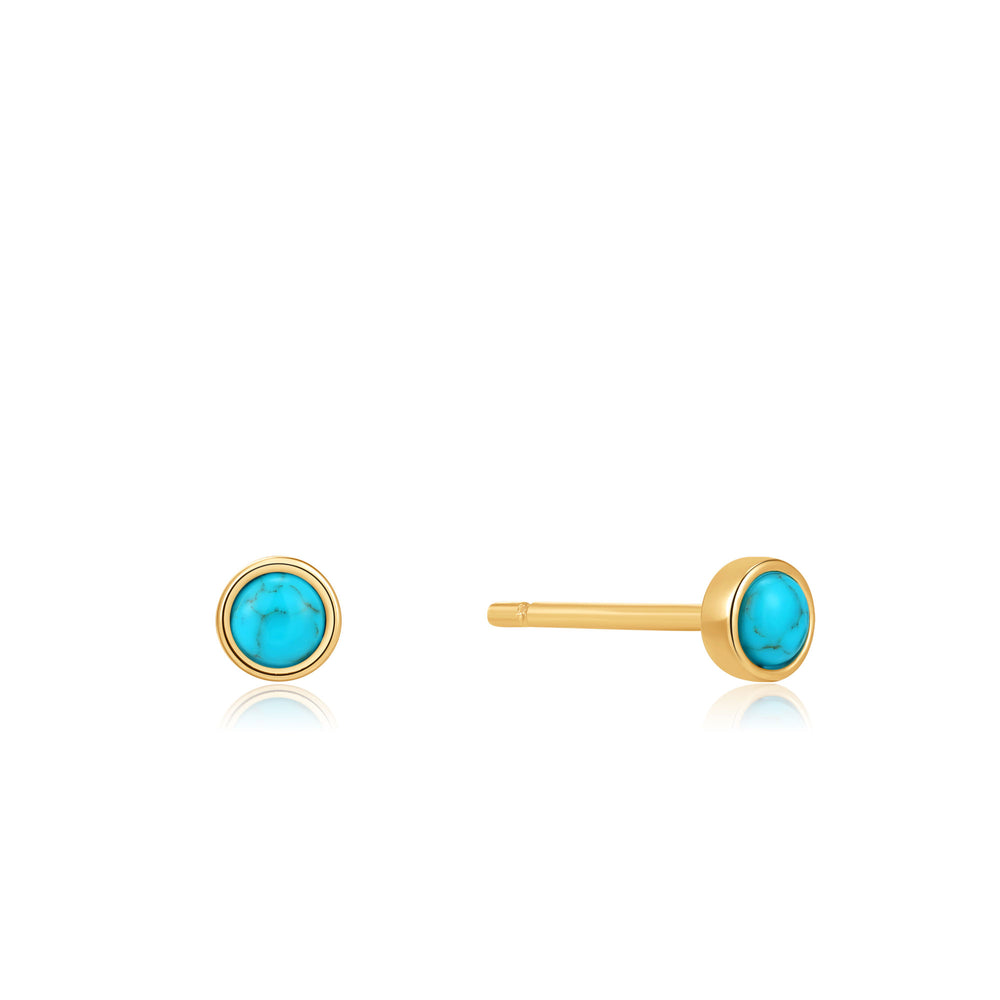 Gold Tidal Turquoise Cabochon Stud Earrings