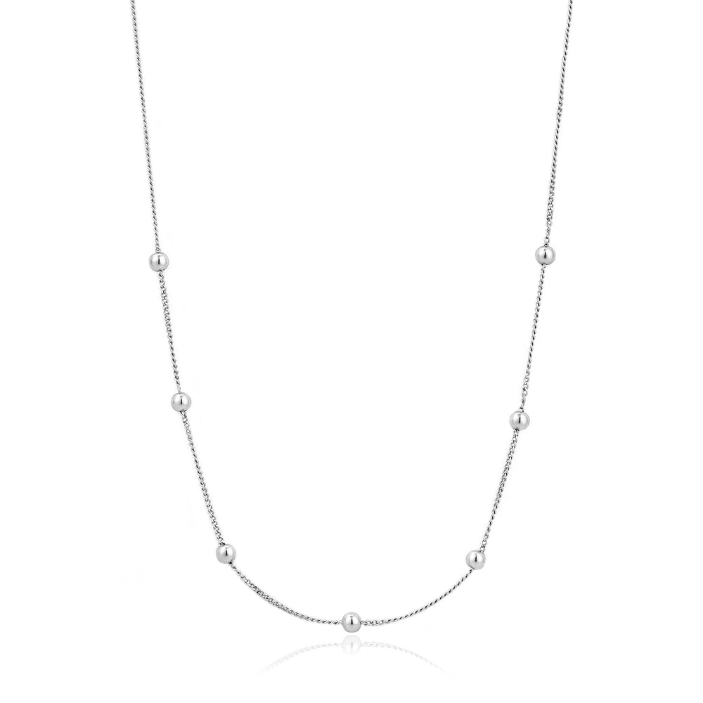 Silver Modern Beaded Necklace