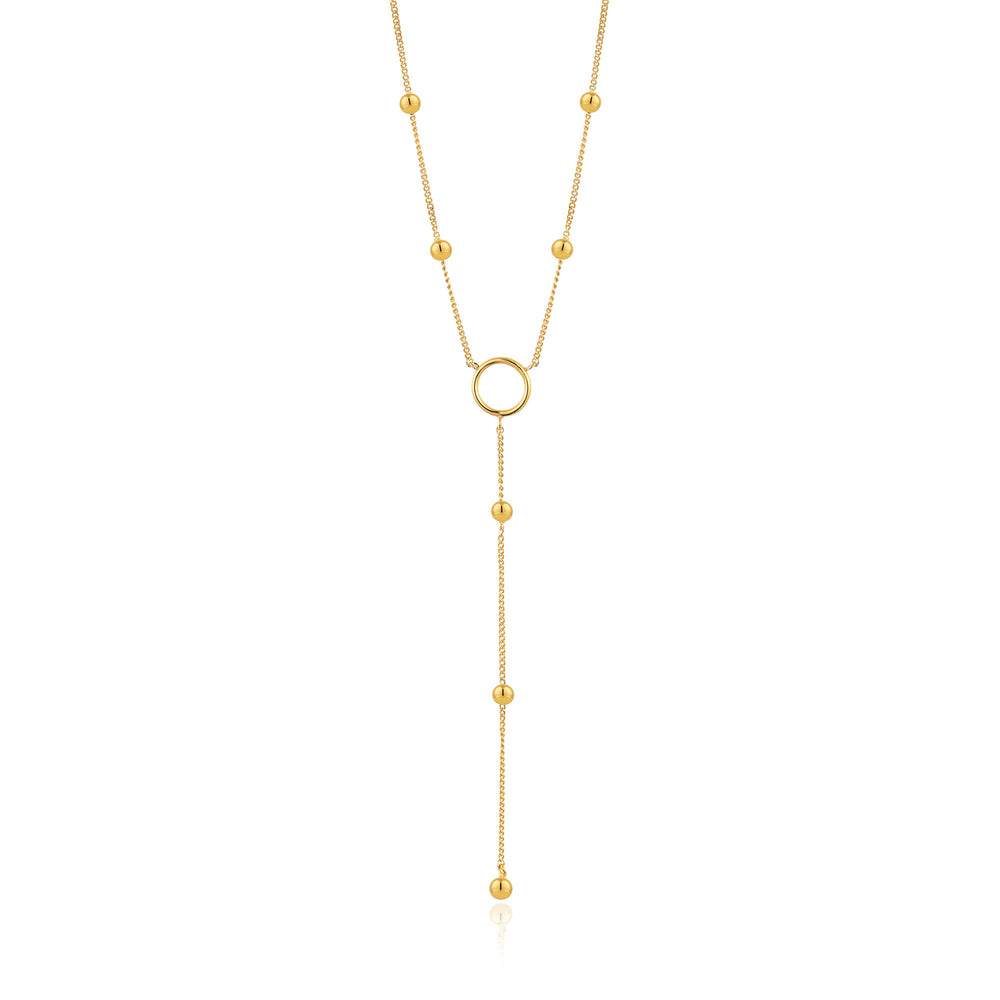 Gold Modern Circle Y Necklace