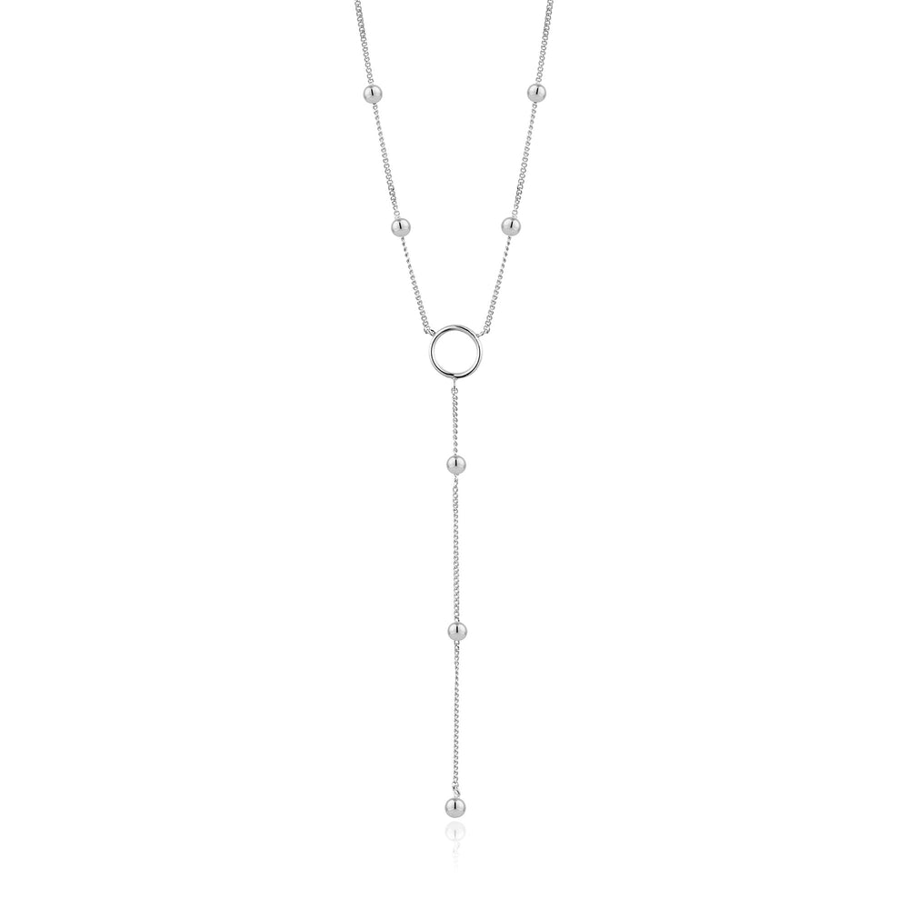 Load image into Gallery viewer, Silver Modern Circle Y Necklace
